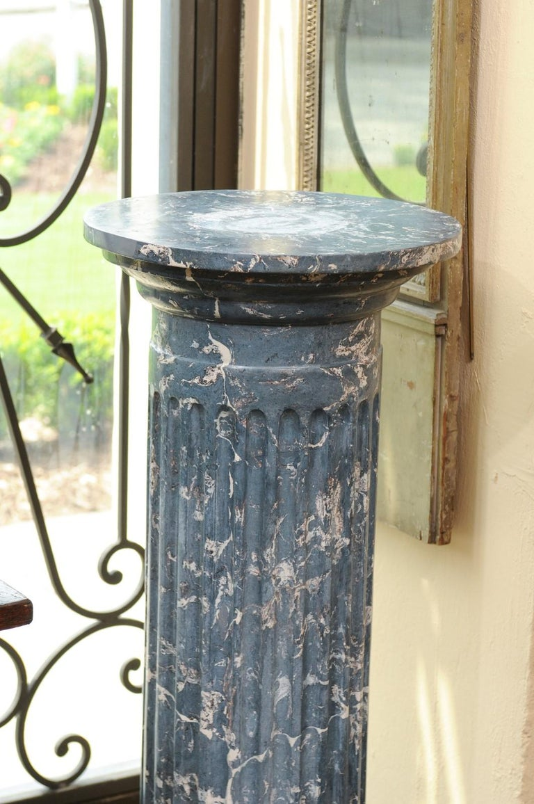 19th Century Continental Blue Marbleized Painted Terracotta Column/Pedestal In Good Condition For Sale In Atlanta, GA