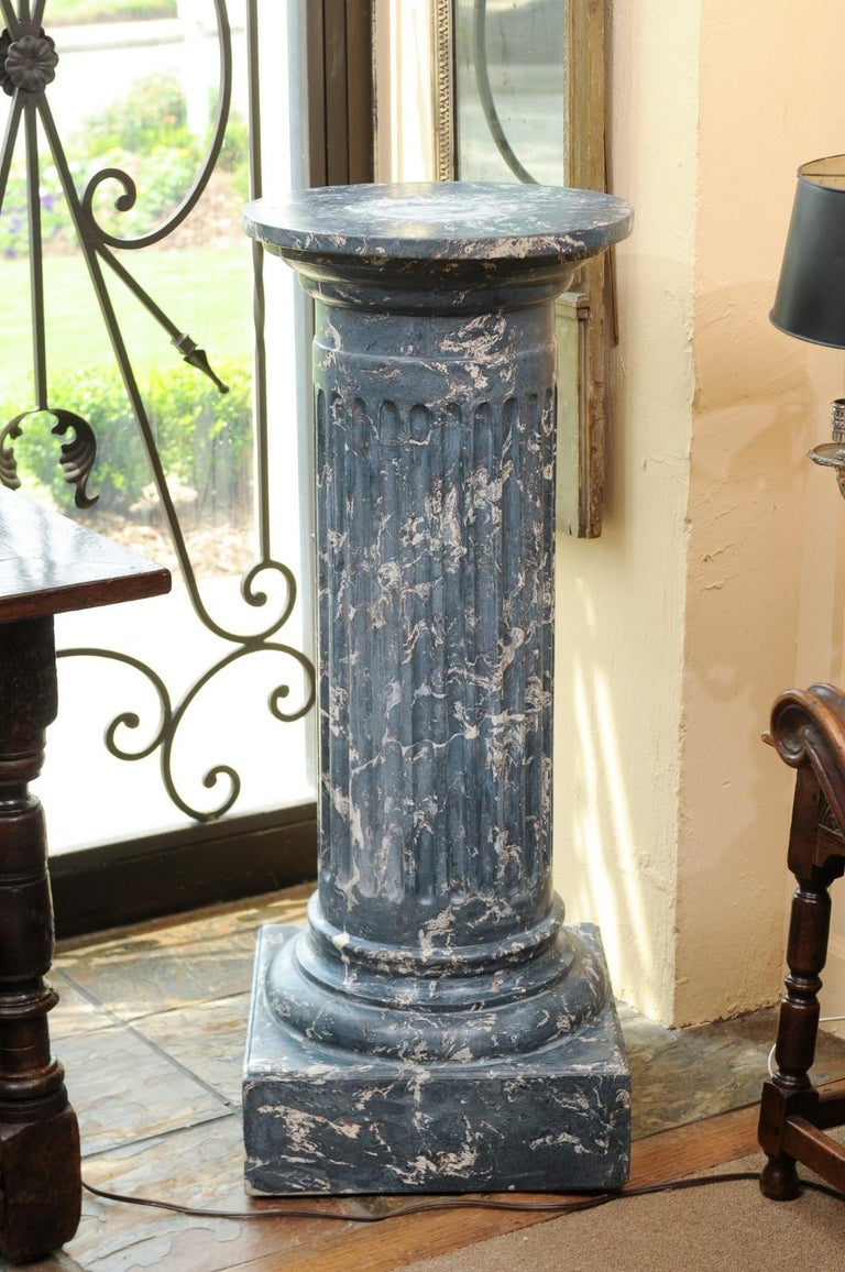 19th Century Continental Blue Marbleized Painted Terracotta Column/Pedestal For Sale 2