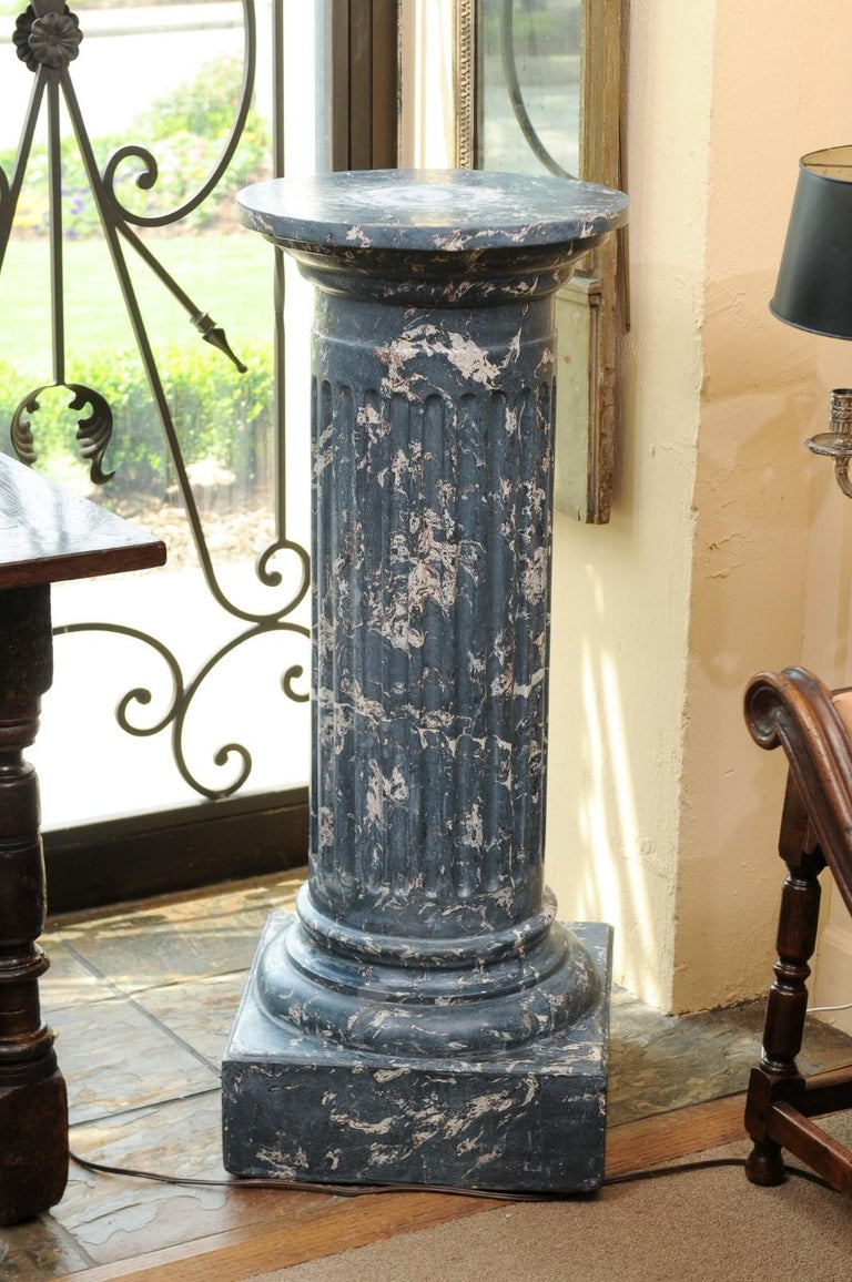 19th Century Continental Blue Marbleized Painted Terracotta Column/Pedestal For Sale 3