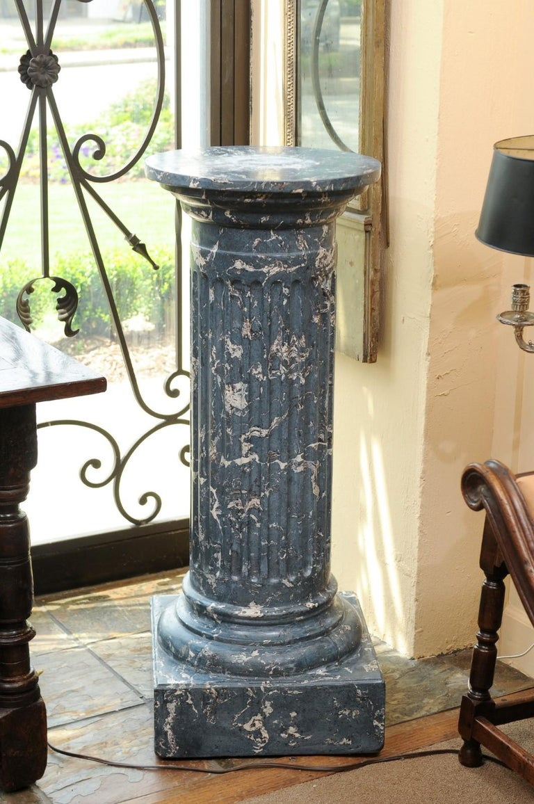 19th Century Continental Blue Marbleized Painted Terracotta Column/Pedestal For Sale 4