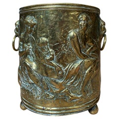 19th Century Continental Brass Cachepot with Lion Pulls