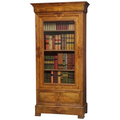 19th Century Continental Figured Walnut Bookcase (Small Proportions)