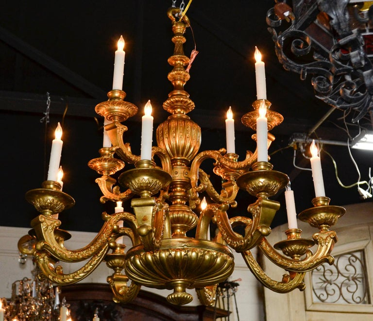 European 19th Century Continental Gilt Bronze Chandelier For Sale