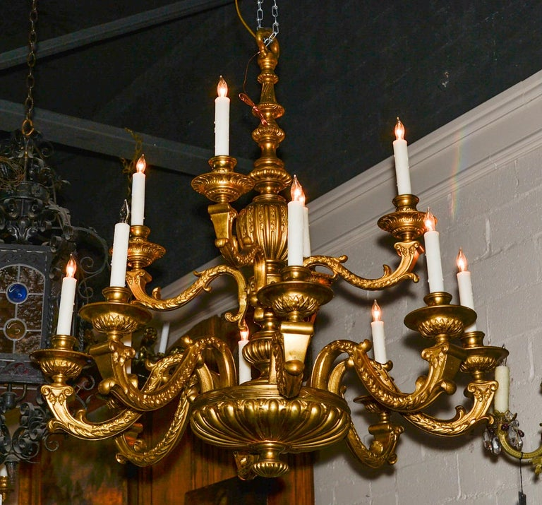 19th Century Continental Gilt Bronze Chandelier For Sale 4