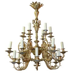 19th Century Continental Gilt Bronze Chandelier