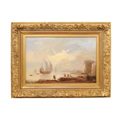 19th Century Continental Oil on Canvas Painting of Harbor