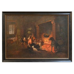 19th Century Continental Oil Painting on Canvas