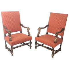 19th Century Continental Pair of Walnut Armchairs
