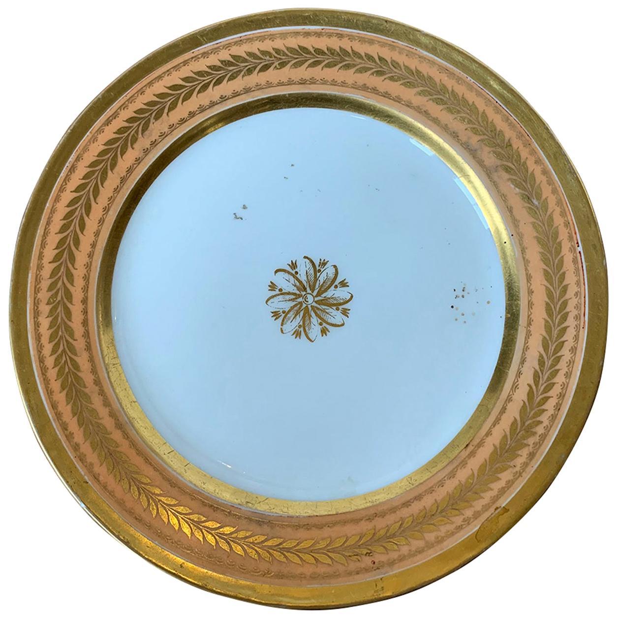 19th Century Continental Porcelain Plate, Gilt Details, Faint X-Impressed Mark