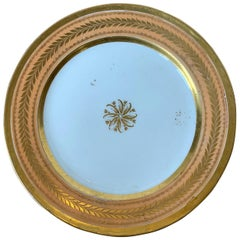 19th Century Continental Porcelain Plate, Gilt Details, Faint X-Impressed Mark
