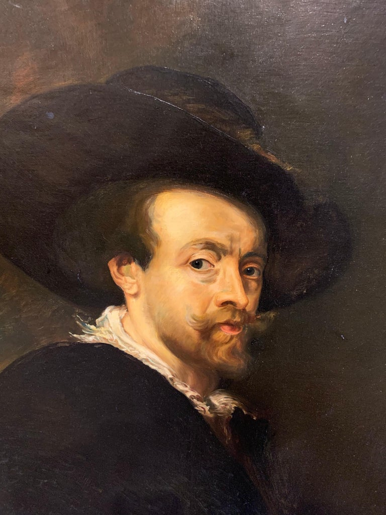 Very fine 19th century continental portrait of a man. The painting depicts famous artist Paul Rubens.