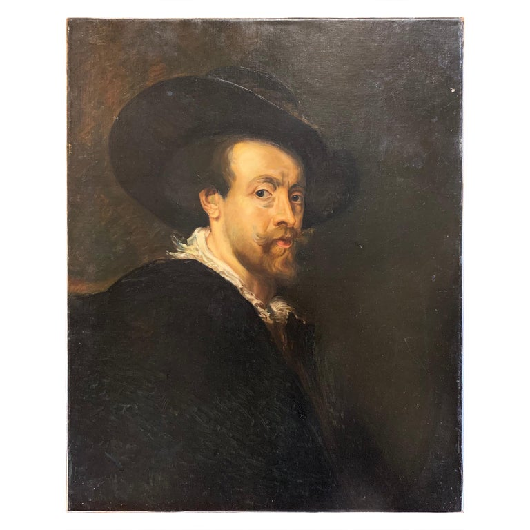 "19th Century Continental Portrait of a Man ""After Rubens"" For Sale"
