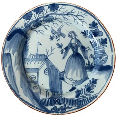 19th Century Continental Possibly German Blue and White Porcelain Round Plate