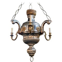 19th Century Continental Style Silver and Bronze 3-Arm Chandelier