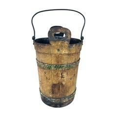19th Century Continental Tole Faux Bois Bucket