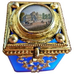 19th Century Continental Turquoise Glass Box with Miniature of Palace Scene