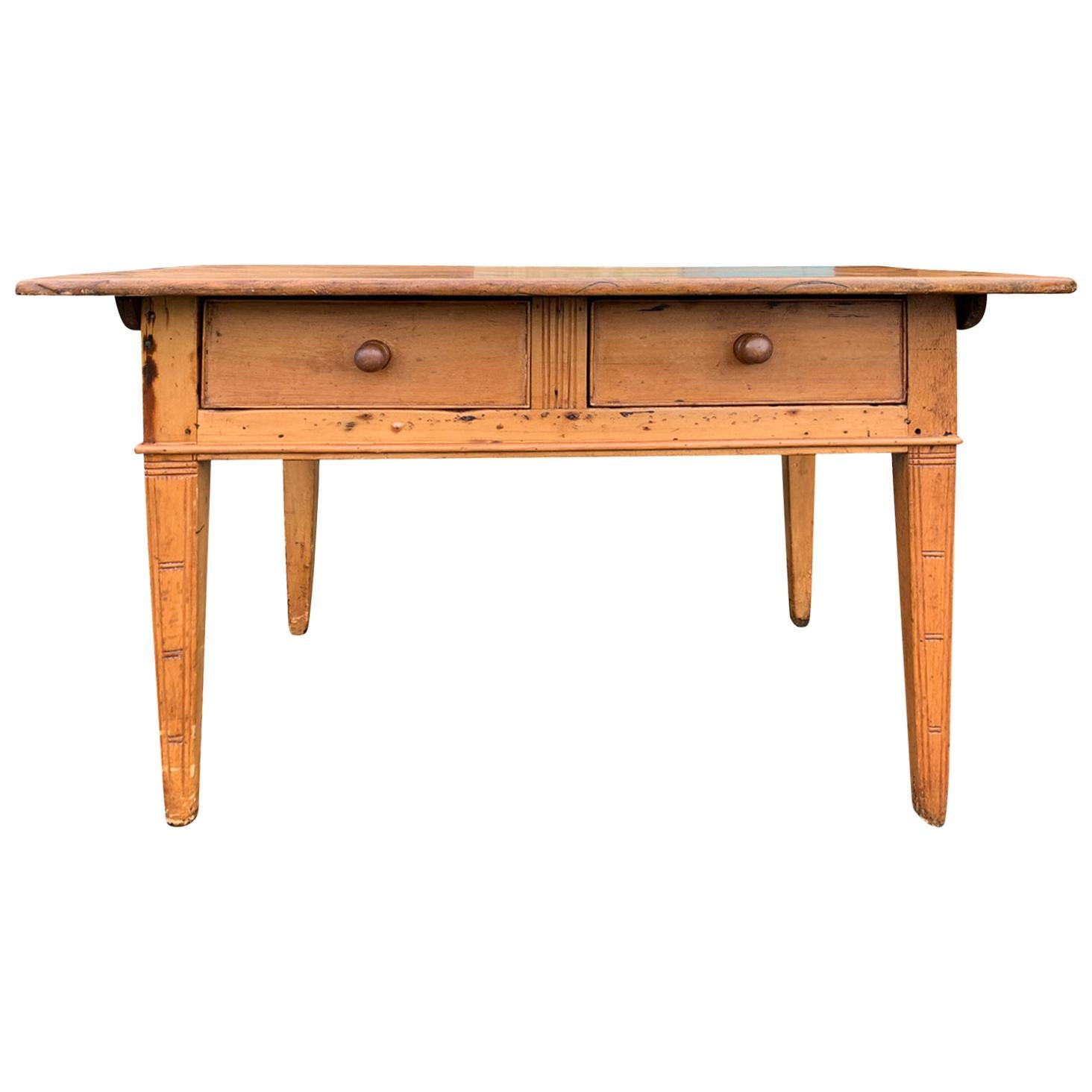 19th Century Continental Work Table with Two Drawers