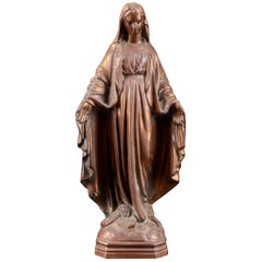 19th Century Copper Alloy Statue of Blessed Virgin Mary with Open Arms