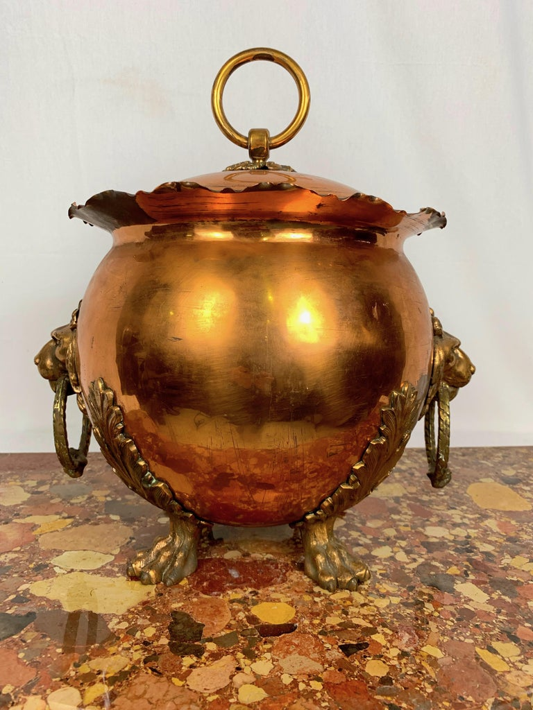 19th Century Copper and Brass Coal Bucket In Distressed Condition For Sale In Warminster , Wiltshire
