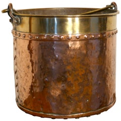 19th Century Copper and Brass Coal or Log Bucket