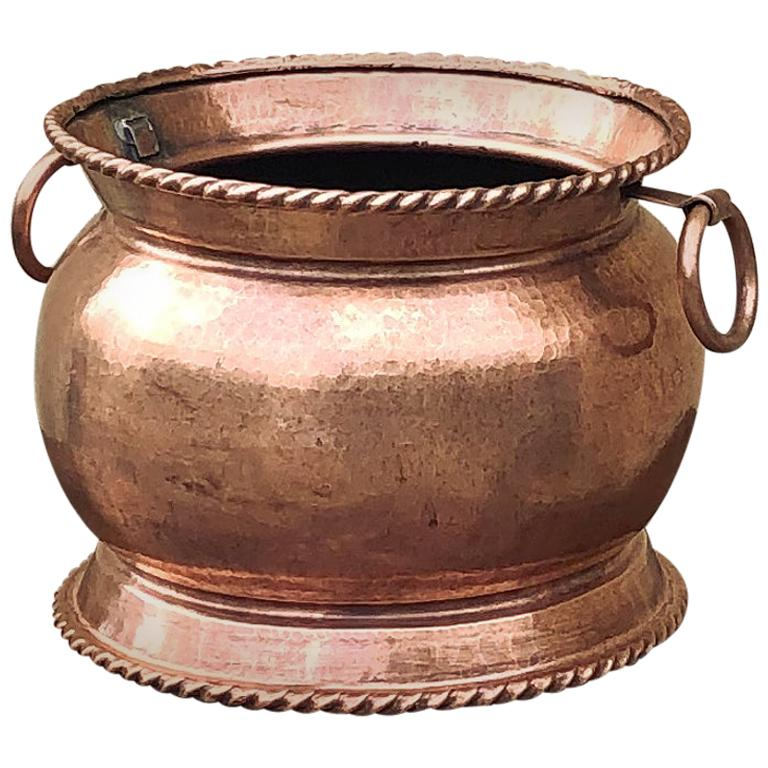 19th Century Copper and Brass Handmade Jardinière