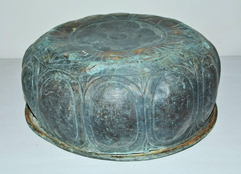 19th Century Copper Bowl Planter In Distressed Condition For Sale In Great Barrington, MA