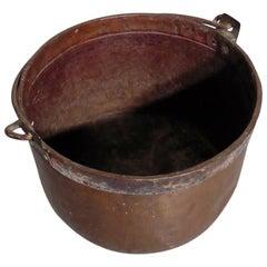 19th Century Copper Cauldron or Log Bin