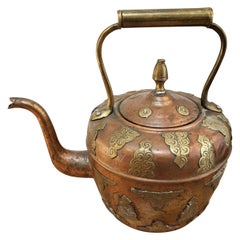 19th Century Copper Kettle with Brass Floral Decoration