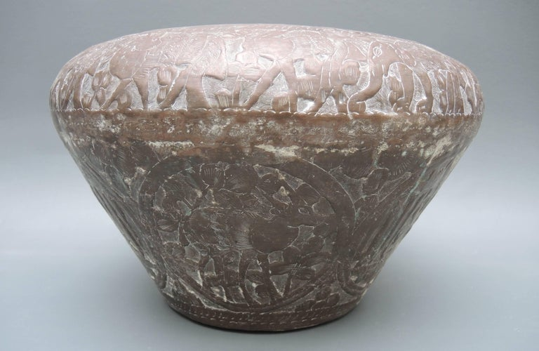 19th Century Copper Temple Urn with Repousse Decoration For Sale 1