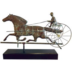 19th Century Copper Weather Vane Figure of a Stallion and Jockey on Stand