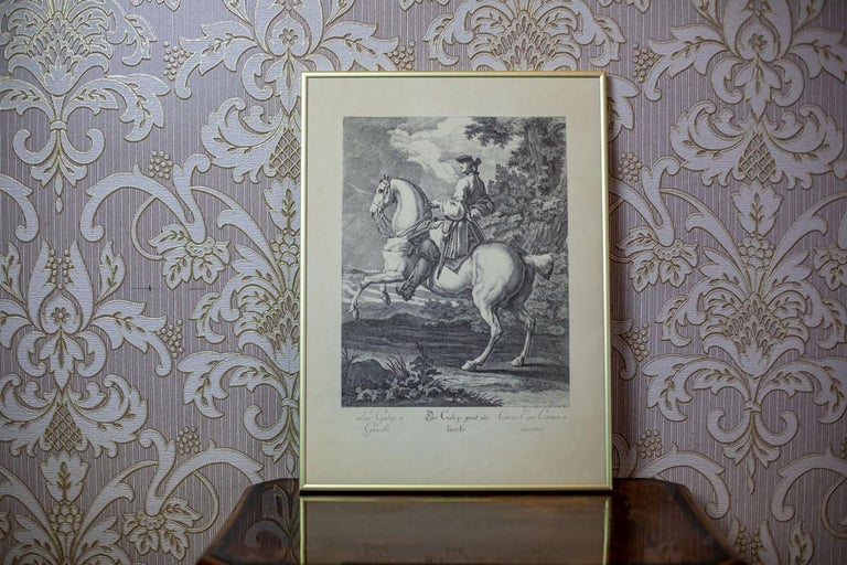 We present you a copperplate engraving depicting a galloping horse with a rider. This piece of art is signed by Johann Elias Ridinger (1698-1767), a German painter, graphic designer, and drafter. In 1723, he founded a publishing company and
