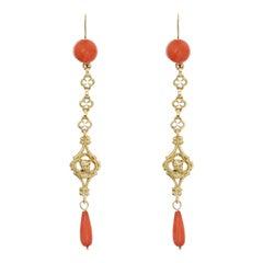 19th Century Coral 18 Karat Yellow Gold Dangle Earrings