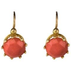 19th Century Coral 18 Karats Rose Gold Drop Earrings