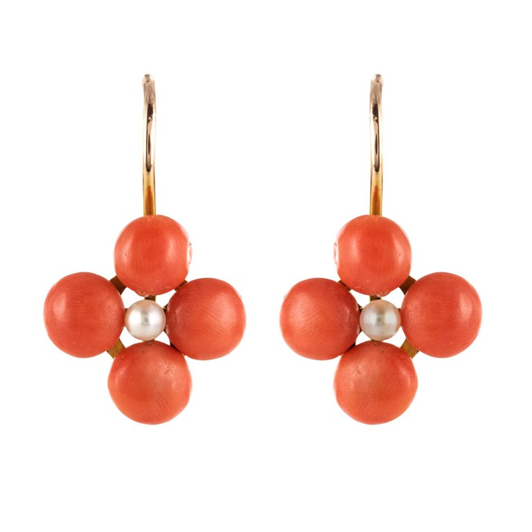 19th Century Coral Natural Pearls 18 Karat Rose Gold Clover Shape Earrings For Sale