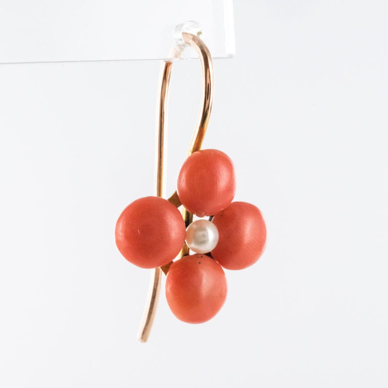 Women's 19th Century Coral Natural Pearls 18 Karat Rose Gold Clover Shape Earrings For Sale