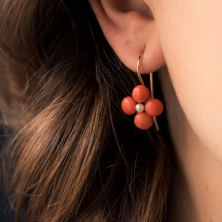 19th Century Coral Natural Pearls 18 Karat Rose Gold Clover Shape Earrings For Sale 1