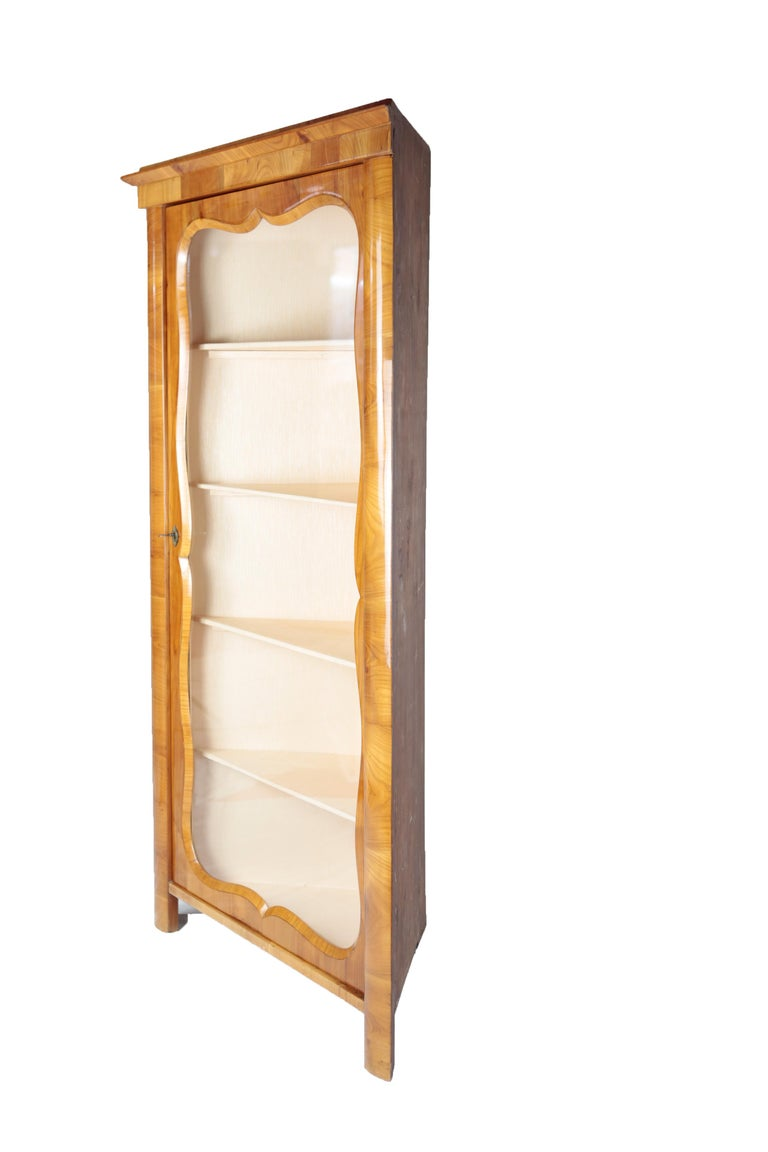 German 19th Century Corner Vitrine, Glass Cabinet, circa 1860-1870, Cherry Tree For Sale