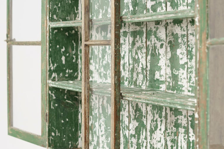 Hand-Carved 19th Century Cornish Hutch Vitrine in Original Paint For Sale