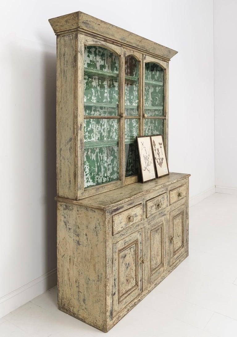 Glass 19th Century Cornish Hutch Vitrine in Original Paint For Sale