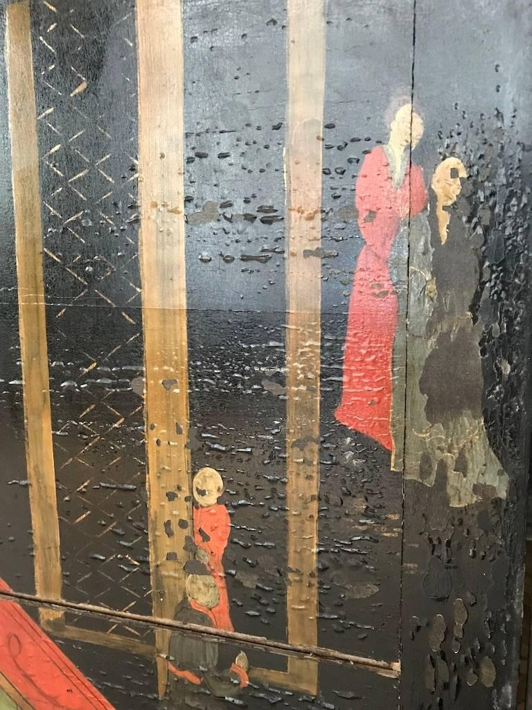 Double Sided Coromandel Chinoiserie Lacquer Five-Panel Screen, Paravent, 1890s For Sale 4
