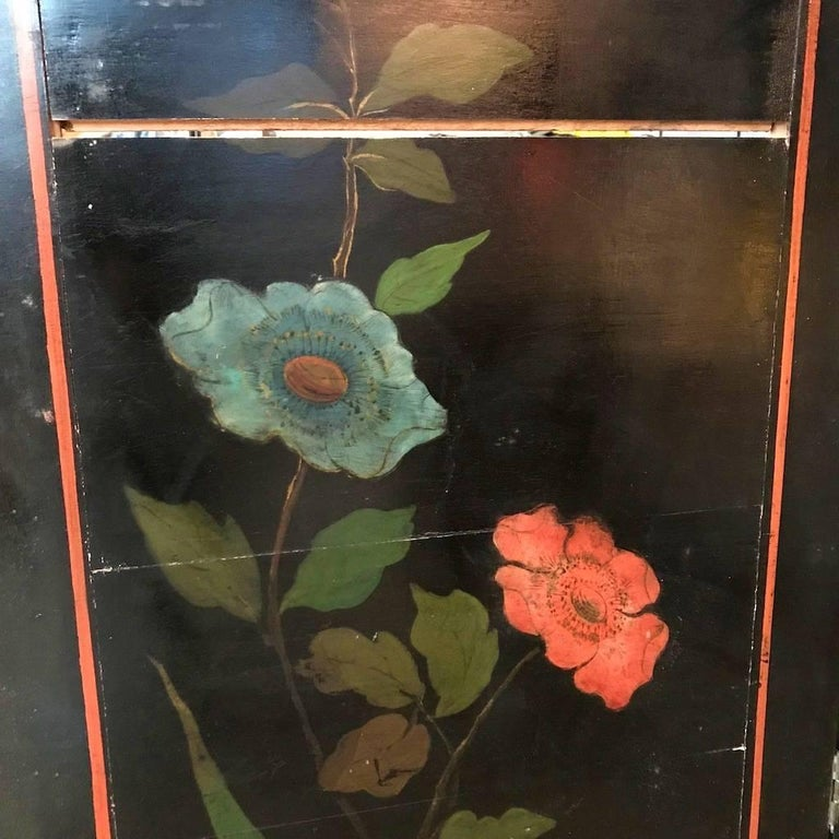 Double Sided Coromandel Chinoiserie Lacquer Five-Panel Screen, Paravent, 1890s For Sale 9