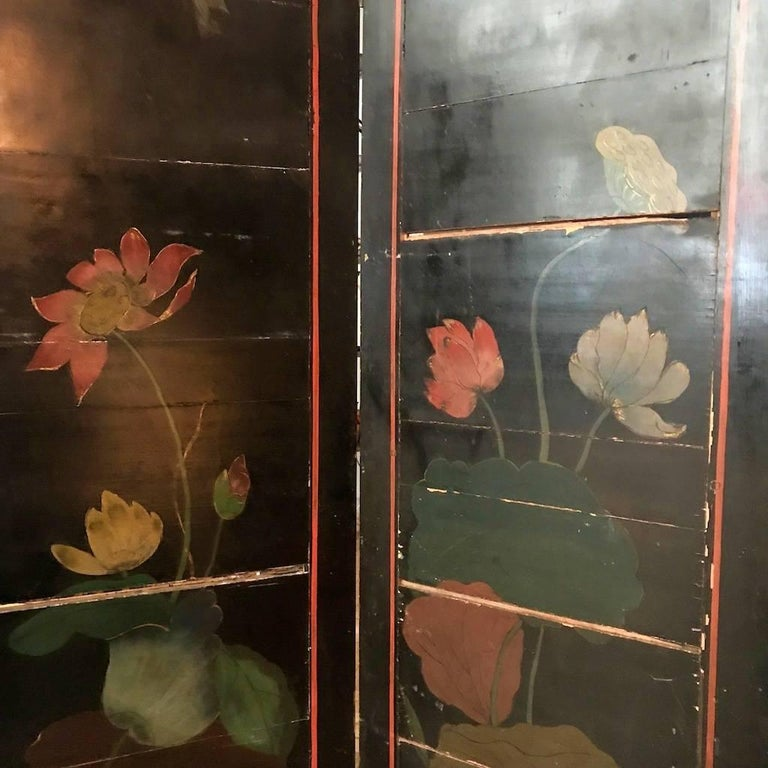 Double Sided Coromandel Chinoiserie Lacquer Five-Panel Screen, Paravent, 1890s For Sale 10
