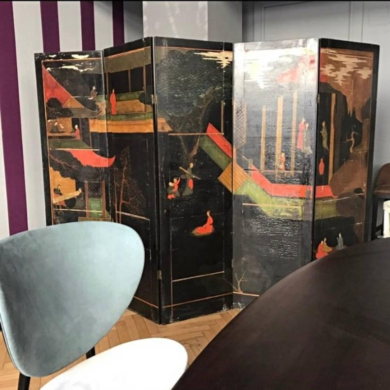 Double Sided Coromandel Chinoiserie Lacquer Five-Panel Screen, Paravent, 1890s For Sale 11