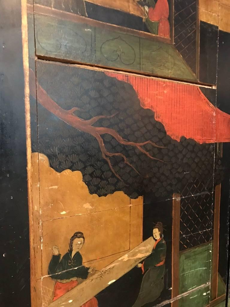 Double Sided Coromandel Chinoiserie Lacquer Five-Panel Screen, Paravent, 1890s In Fair Condition For Sale In Vienna, AT