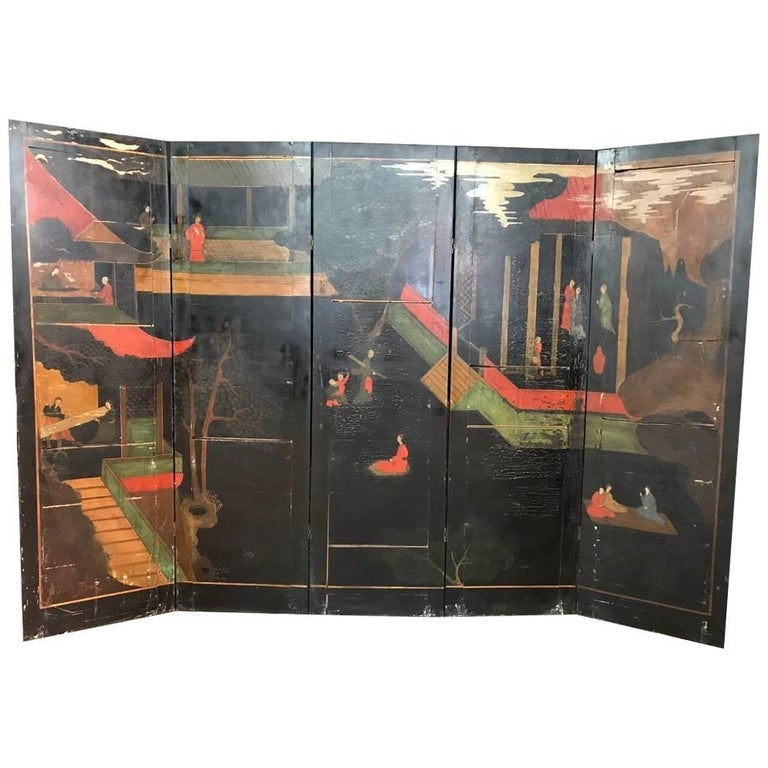 Double Sided Coromandel Chinoiserie Lacquer Five-Panel Screen, Paravent, 1890s For Sale
