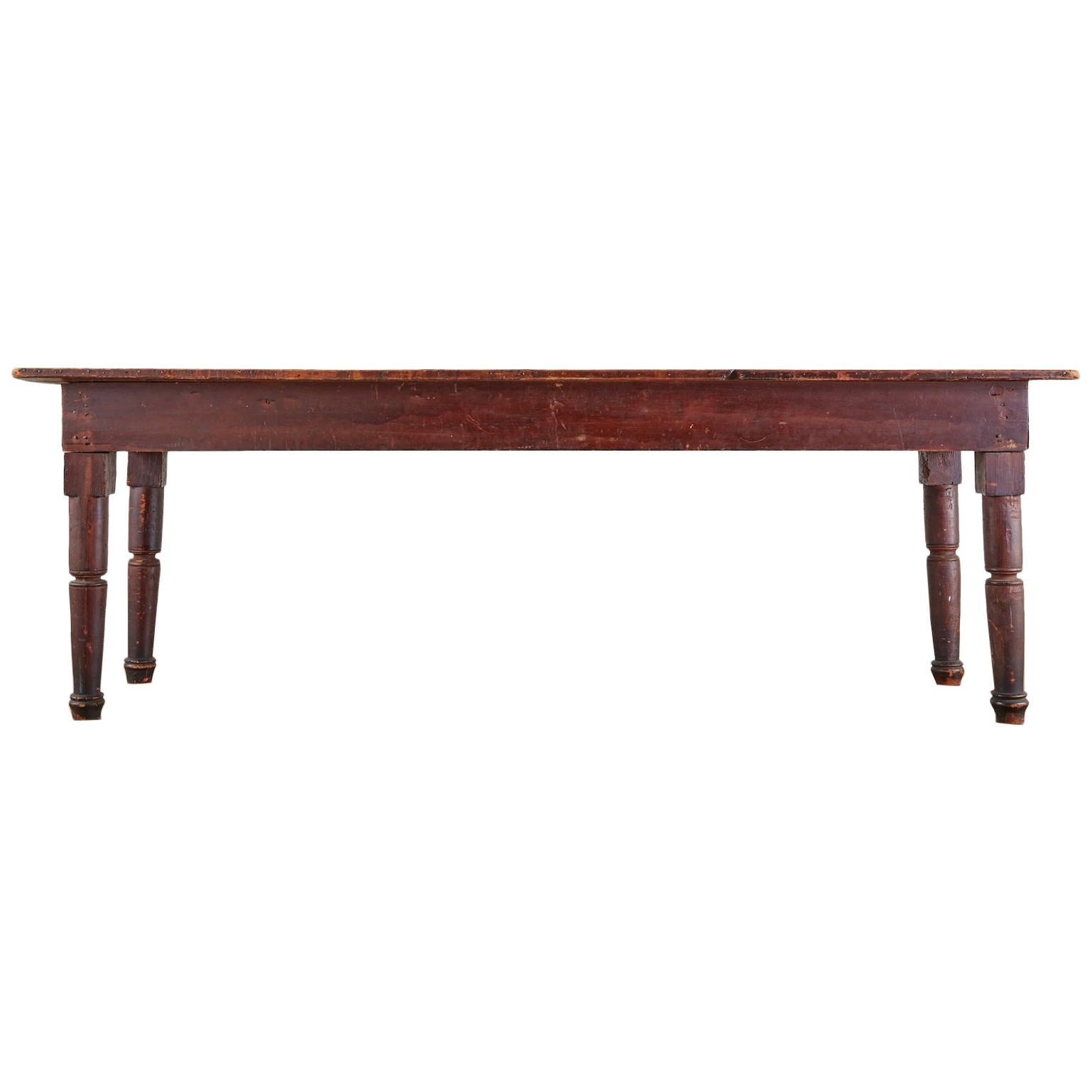 19th Century Country American Pine Farmhouse Work Table