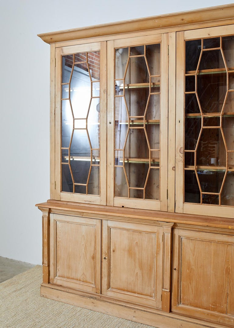 Rustic Country English Pine Library Bookcase Cabinet