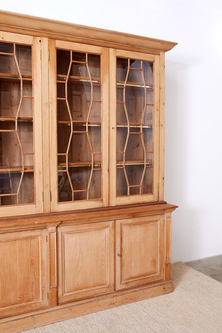 Hand-Crafted Country English Pine Library Bookcase Cabinet