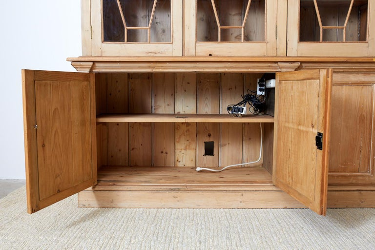 20th Century Country English Pine Library Bookcase Cabinet