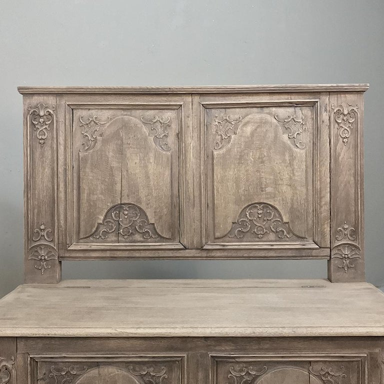 19th Century Country French Baroque Stripped Oak Hall Bench For Sale 5